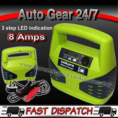 12V 8 Amp 2.5L 2500cc Compact 3 Step Upto 15Ah to120Ah Car Battery Charger