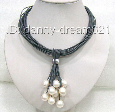 AMAZING beautiful white natural freshwater pearls necklace a0097
