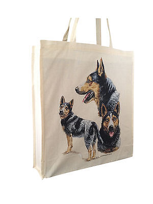 Australian Cattle Dog Cotton Shopping Bag Gusset and Long Handles Perfect Gift