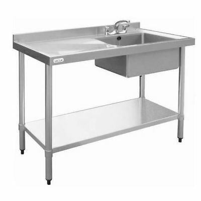 Sink with Drainer 900x1000x600mm Right Bowl Stainless Steel, Commercial Kitchen
