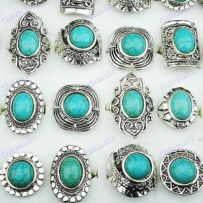 Freeshipping 10pc Wholesale jewerly lots Turquoise Tibet Silver Rings Adjustable