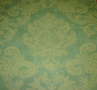 COLE AND SON GREEN AND GOLD 'MONTPELIER' WALLPAPER -$50 PER 11 YD ROLL