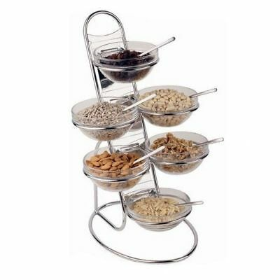 Buffet Food Display, 6 Glass Bowls, Chrome Plated Ladder, 480 x 300 x 300mm