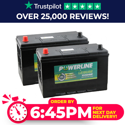 Pair X 12V 105Ah Deep Cycle Battery LX30MF Leisure Caravan Marine Boat Powerline