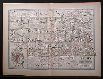 1897 Double Page Map, Nebraska, Century Atlas, Color, Good Detail, Good Margins