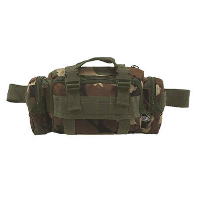 Military Waist Hip Pack Shoulder Bag 7 Pockets Hiking Travelling Woodland Camo