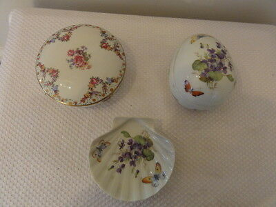 Vintage Limoges Hand-Decorated 3-Piece Set (From France)