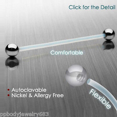 """1pc. 14G~7/16"""" to 1-1/2"""" PTFE Surface Piercing Barbell with Surgical Steel Balls"""