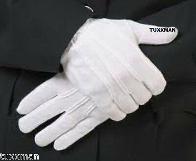 Men's New White Tuxedo Gloves Nylon Formal Uniform Guard Band Butler FREE SHIP