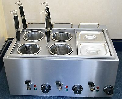 NEW Pasta Boiler or Noodle Cooker Bain Marie 4 baskets and 2 Sauce Pans 1/6 size