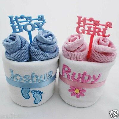 Personalised New Baby Gift Set  Vest & Bib For Boys & Girls, Christening Gift