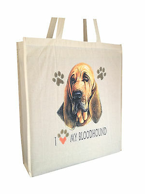Bloodhound Reusable Cotton Shopping Tote Bag with Gusset & Long Handles