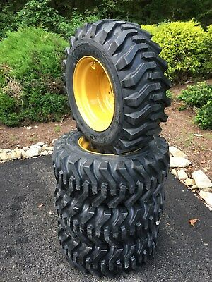 4 NEW 12-16.5 Skid Steer Tires & Rims for Caterpillar - CAT - 12X16.5 - 12 ply