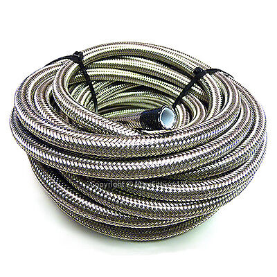 "AN -6 AN6 5/16"" 8MM Stainless Steel Braided PTFE Fuel Hose Pipe 1 Metre"