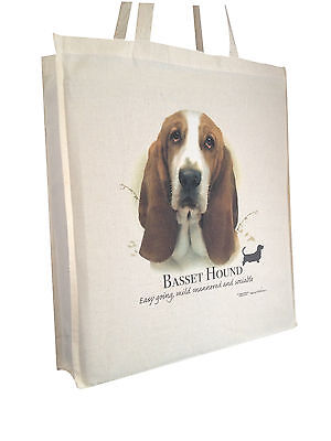 Basset Hound (c) Cotton Shopping Tote Bag with Gusset and Long Handles