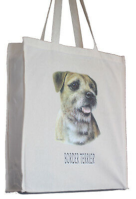 Border Terrier (c) Cotton Shopping Bag with Gusset and Long Handles Perfect Gift