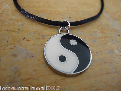 Yin Yang Black & White Symbol Silver Glass Pendant on Black Cord for Balance