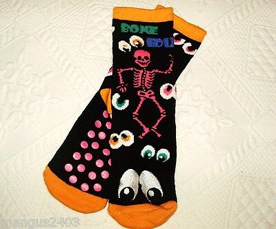 Boys Slipper Grip Non Slip Slipper Socks Black Orange Googly Eyes High Quality