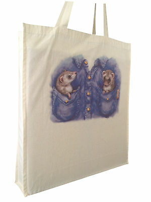 Cute Ferret in Pocket Natural Cotton Shopping Bag Tote Long Handles Perfect Gift