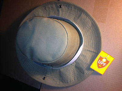 BOONIE outback SUN hiking HAT Hvy-Duty wide snap-up brim;2 neck cords Tan M/L