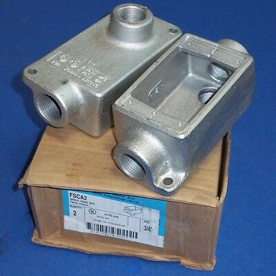 """Cooper Crouse-Hinds 3/4"""" Npt Single Gang Cast Device Box Fsca2 Lot Of 2"""