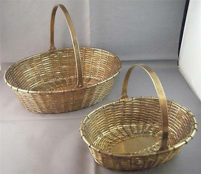"Set of 2 Vintage Woven Solid Brass Oval Baskets w/ Swivel Handle India 6"" & 8"""