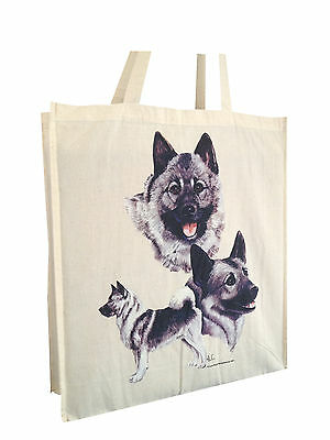 Norwegian Elkhound Cotton Shopping Bag with Gusset and Long Handles Perfect Gift