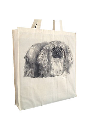 Pekingese Cotton Shopping Tote Bag with Gusset & Long Handles Perfect Gift