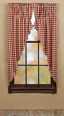 Cambrie Lane Check Prairie Curtains Country Primitive Red Window Panel Scallop