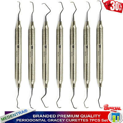Medentra® Root Canal Gracey Curettes Set of 7 Periodontal Surgical Bone Curette