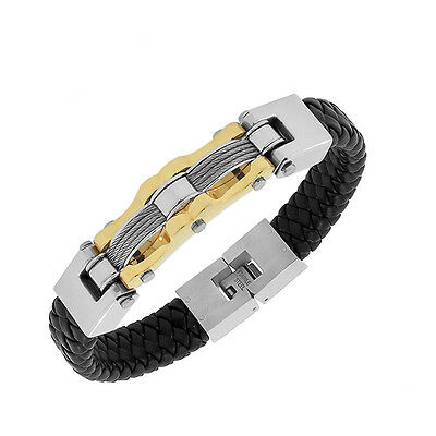 Stainless Steel Black Braided Leather Silver Yellow Gold Two-Tone Mens Bracelet