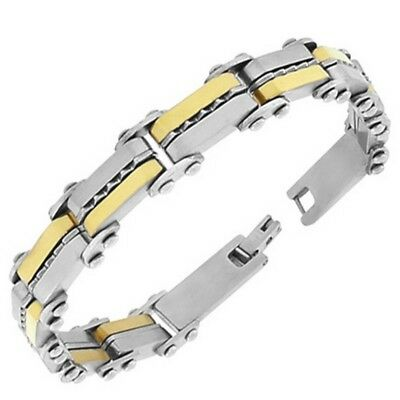 Stainless Steel Silver Yellow Gold Two-Tone Link Chain Mens Bracelet