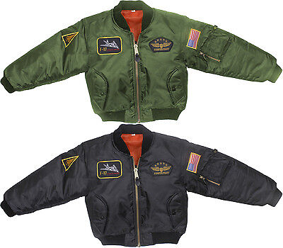 Kids Military Air Force Style Insignia Patches MA-1 Flight Jacket