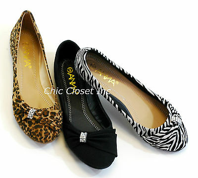 Women Ballet Flats NEW Zebra Leopard Black Animal Print Jewel Evening Low Heel