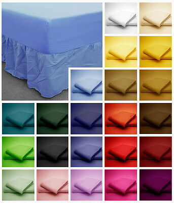 Poly Cotton Fitted Valance Bed Sheets plain Dyed Colours Single 4FT Double King