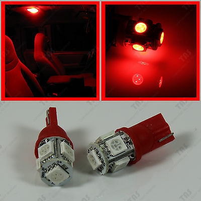 2pcs Red T10 Wedge 5-SMD LED Interior Map Reading Dome Light Bulbs W5W 2825 194