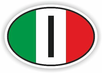 I ITALY COUNTRY CODE OVAL WITH ITALIAN FLAG STICKER bumper decal car helmet
