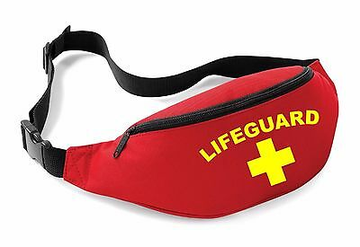 LIFEGUARD Belt Bag - Red Funny Printed Fancy Dress Beach Costume Bum Outfit