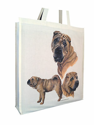 Shar Pei (b) Cotton Shopping Bag with Gusset for Xtra Space Perfect Gift
