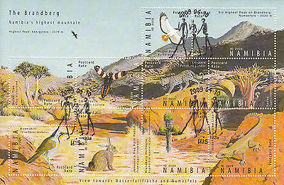 Namibia 2009 CTO Brandberg 10v Sheet Highest Mountain Birds Lizard Leopard Kobas