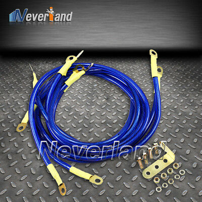 5 x Auto Performance Grounding Ground Wire Cable System Kit Blue New