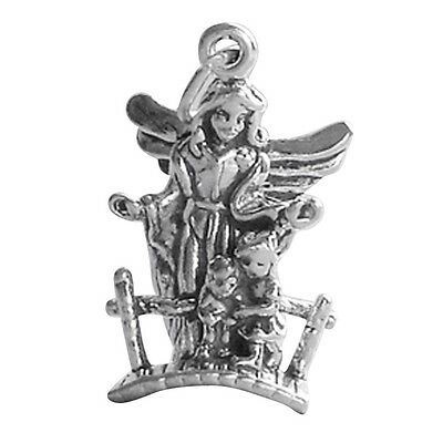 Guardian Angel with Children on Bridge Sterling Silver .925 Charm Pendant