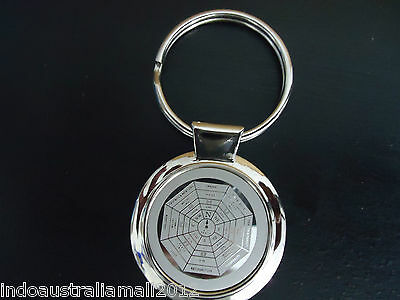 Bagwa/Bagua Sector Chart Pendant Silver Key ring Protection & Balance(KR016)