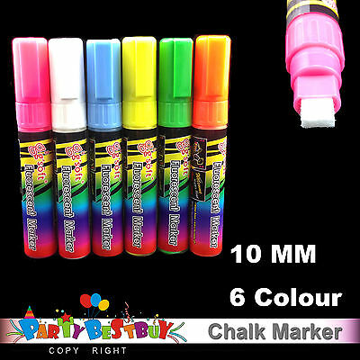 6 X 10mm Liquid Chalk Marker For LED Writing Board Glass Window Fluorescent Pen