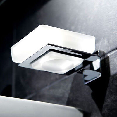 Frosted Glass Wall Mounted Soap Dish & Holder ; Zinc Alloy Chrome ; Bathroom