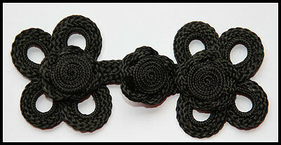 Extra large black Chinese Frogs fasteners jacket closure buttons handmade 2 pair