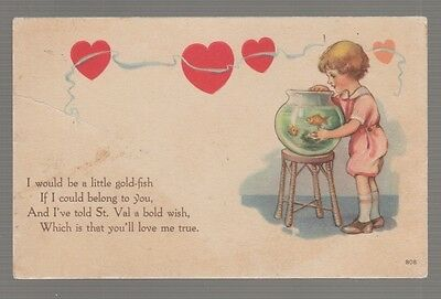 [# 20170] OLD POSTCARD LITTLE GIRL with GOLDFISH BOWL