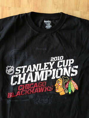 Chicago Blackhawks 2010 Stanley Cup Champion NHL Hockey Black T-Shirt M ORIGINAL