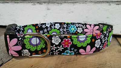 black pink green flowers designer dog collar martingale with leash set option