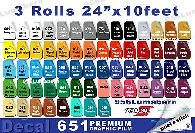 """3 roll 24""""x10ft Adhesive Backed Vinyl Outdoor Sign Quality gloss/satin low shine"""